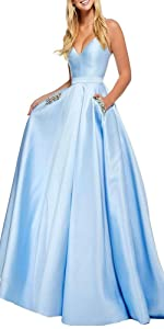 Aox Women Vintage Bandeau Satin Swing Prom Long Dress