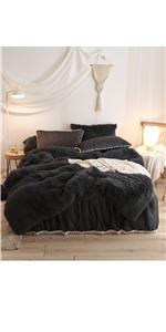 Fluffy faux fur duvet cover set