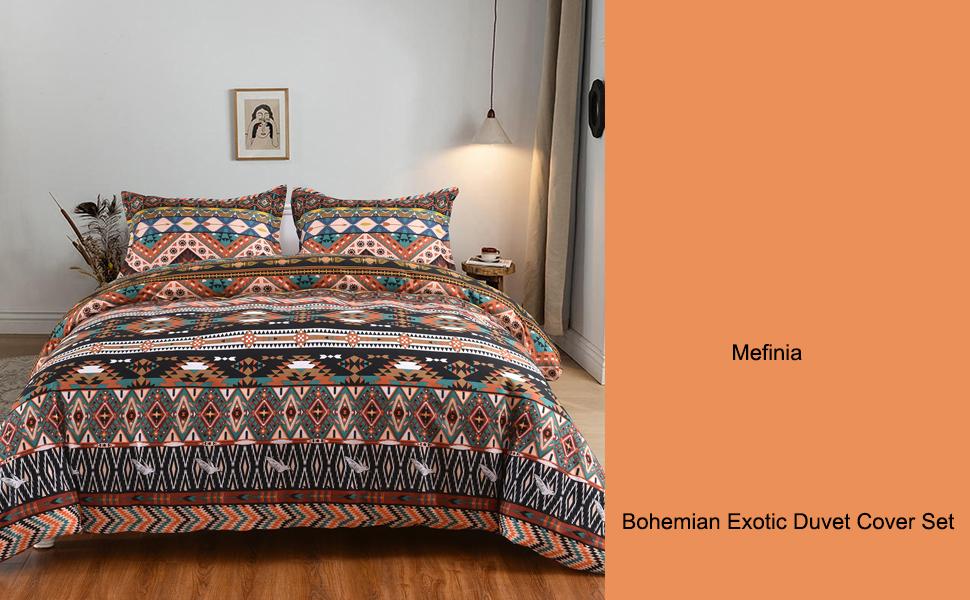 Mefinia Coffee Bohemian Exotic Duvet Cover Set Image 1