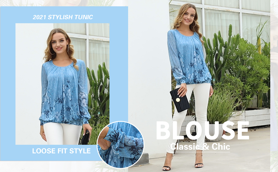 Women's Long Sleeve Scoop Neck Pleated Front Fitted Blouse Tops