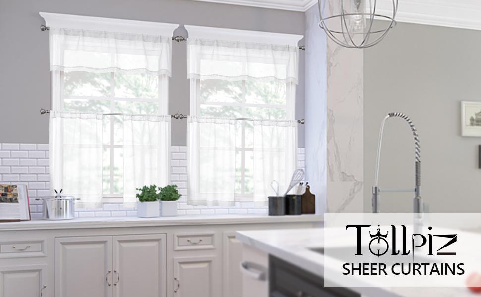 Tollpiz sheer tier curtains, valance, bedroom, living room, kids' room, nursery, kitchen, bathroom