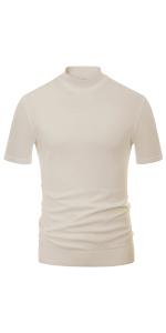 mens mock turtleneck t shirt short sleeve pullover sweater slim fit lightweight summer knit tops