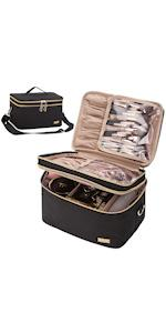 NISHEL Double Layer Makeup Bag with Strap