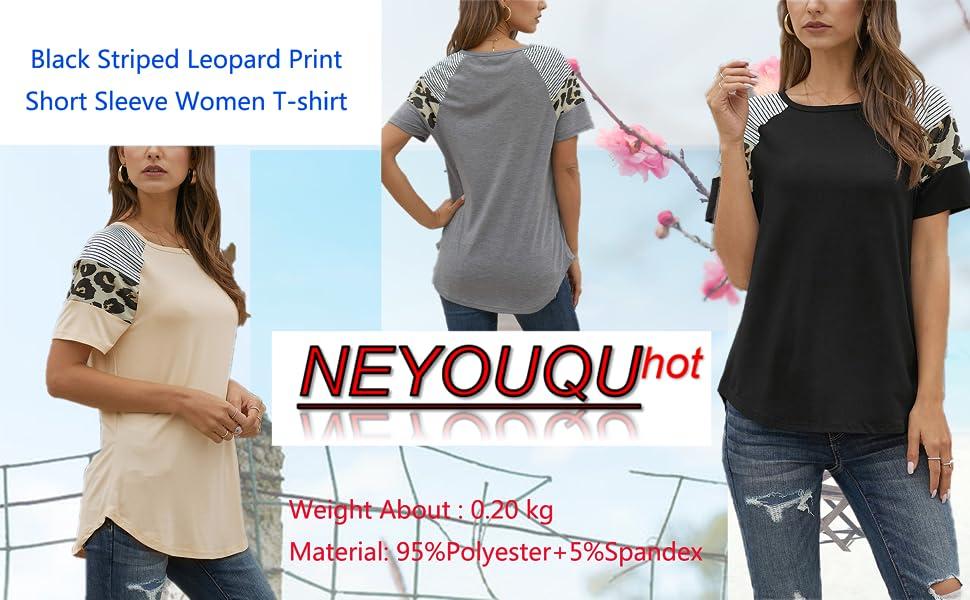 Black Striped Leopard Print Short Sleeve Women T-shirt