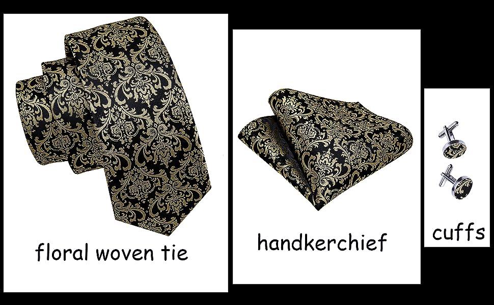 Gold Black Florl shirts for men handkerchief cufflinks set