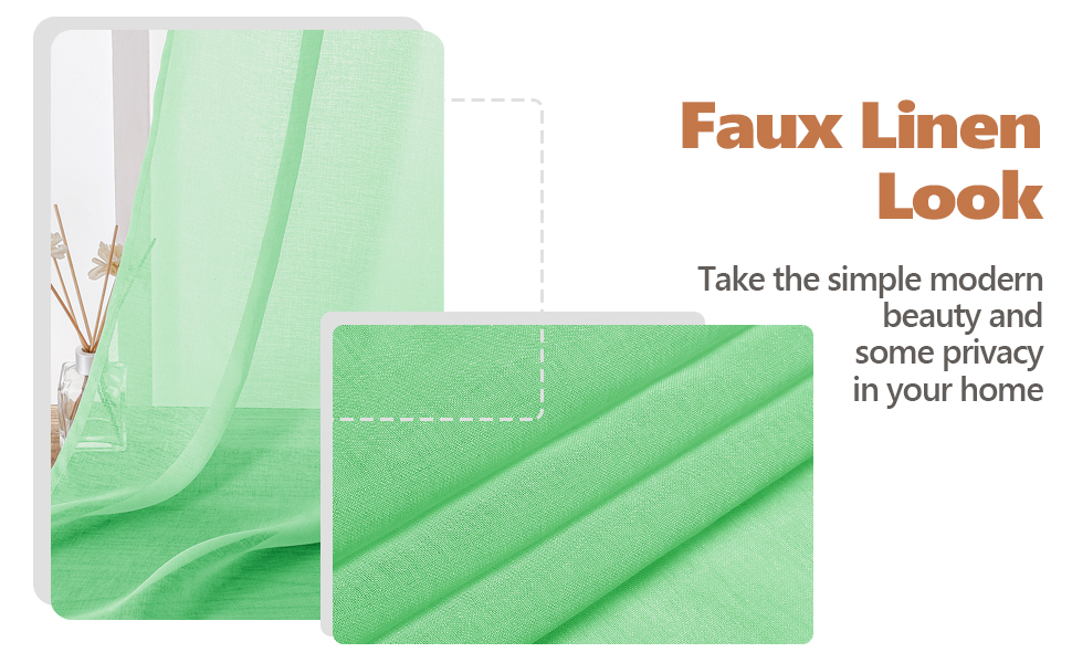 mint green faux linen look sheer curtain, soft touch, light filtering, privacy protecting
