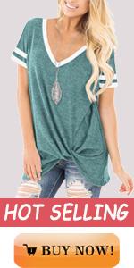 womens short sleeve v neck twist knot tunic blouse tops