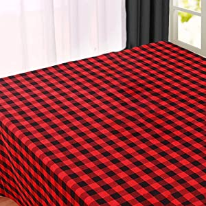 Buffalo Check Tablecloth - Red Cotton Tablecloth - Red and Black Plaid Tablecloth