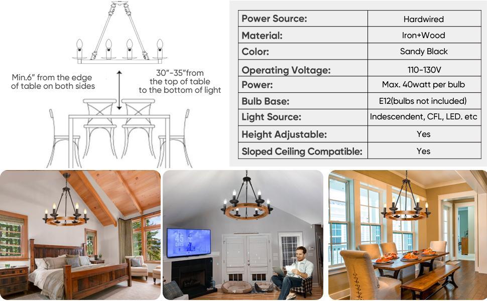 shine decor wood wagon wheel farmhouse kitchen island chandelier