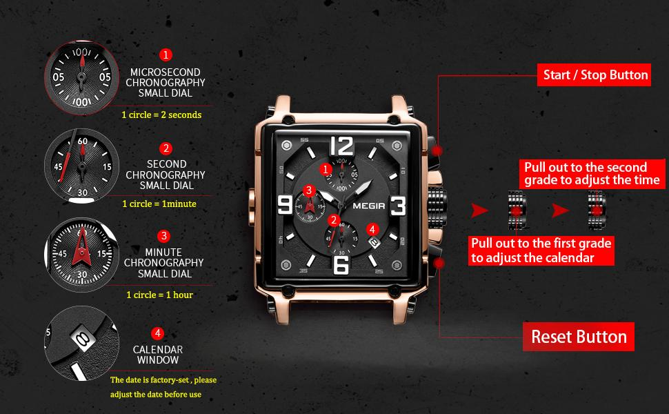 MEGIR Men Chronograph Square Quartz Watches with Leather Band Casual Army Military