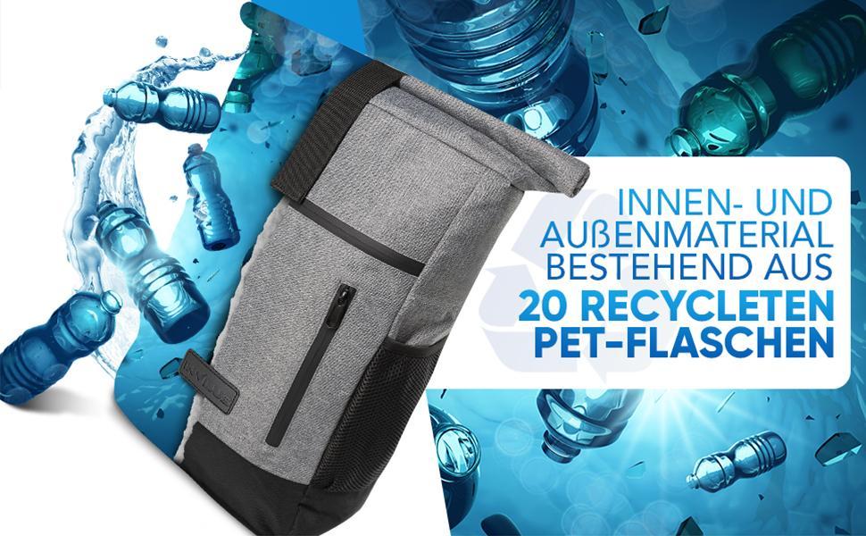 Jetzt Farbe w/ählen Rucksack Nachhaltig Damen Rucksack Elegant invilus/® Rolltop Rucksack Damen und Herren aus Recycelten PET-Flaschen Rucksack Rolltop Laptop Rucksack Damen
