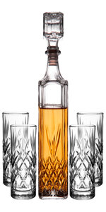 Royalty Art Kinsley Whiskey Glasses Set with Decanter for Scotch, Bourbon