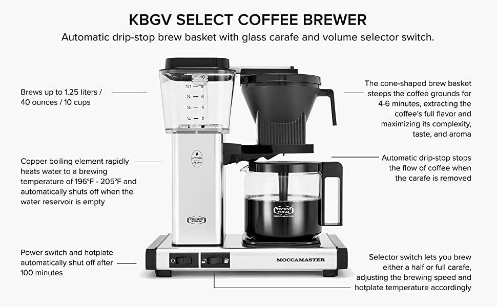 KBGV Select Coffee Brewer: Automatic drip-stop brew basket with glass carafe.