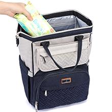 Wide open BabbleRoo diaper bag backpack