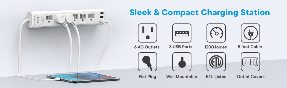 slim low profile power strip for home and office setup