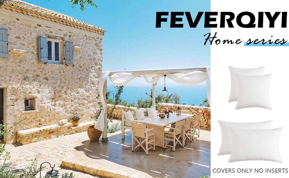White Waterproof Outdoor Pillow Covers for Patio