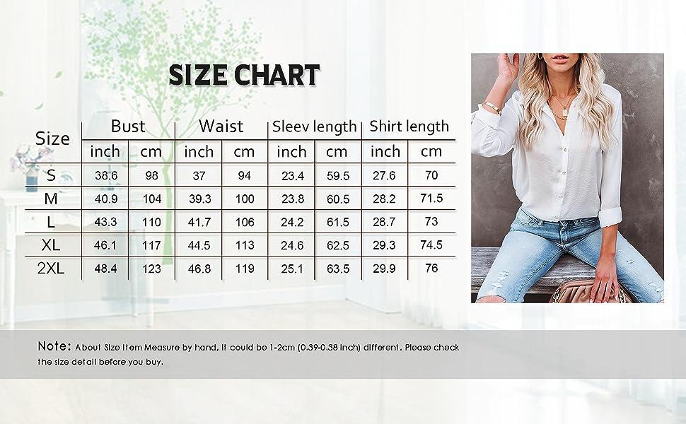 Size Chart of Button Down Shirt