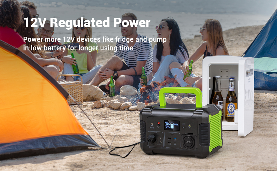 519wh portable power station with 12v regulated power