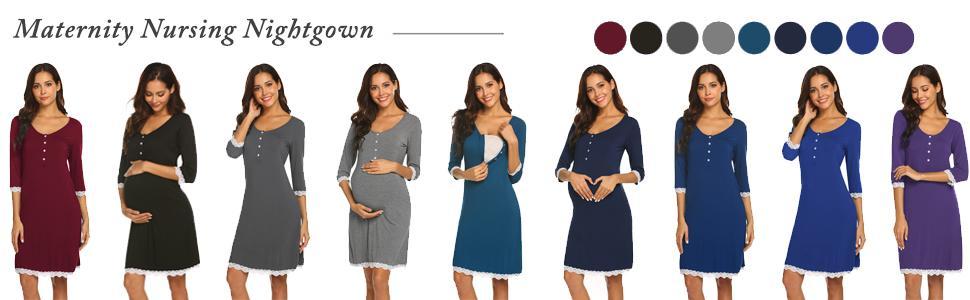 Women's Buttons Nursing Nightgown