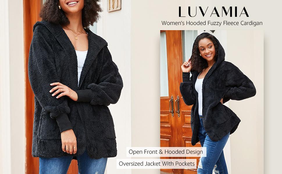 luvamia Womens Casual Hooded Fuzzy Fleece Cardigan Jacket Open Front Long Sleeve Coat with Pockets
