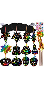Magic Color Scratch Fall Leaves Ornaments with Envelopes and Stickers Craft Kit