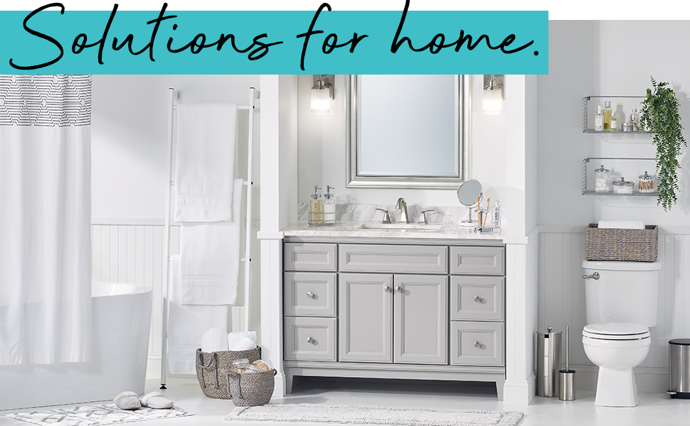 Solutions for Home heading, white bathroom, shower curtain, basket, towels, sink, shelves, toilet