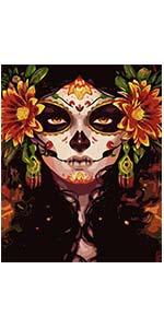diamond painting by number sugar skull girl say of the dead festival ancient mexican religion symbol