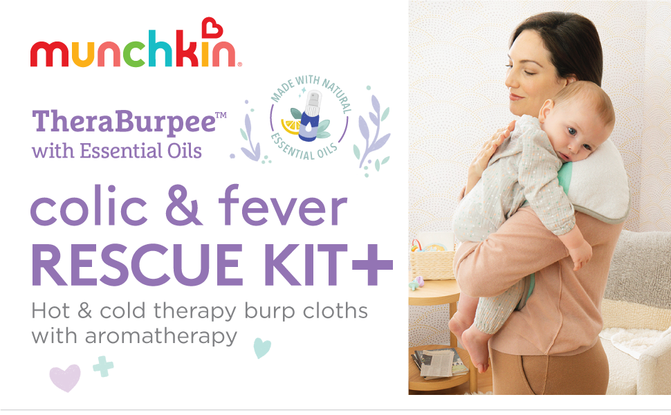 Munchkin Theraburpee with essential oils colic and fever rescue kit