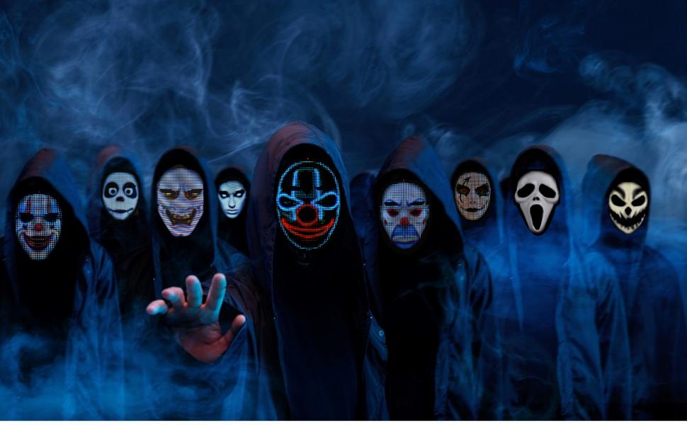 Led mask, costume mask, Halloween, Christmas