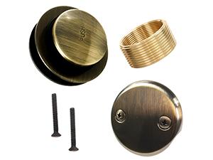 Lift Turn Bathtub Drain Assembly Conversion Kit Trim Waste Hole Overflow Plate Brass Construction