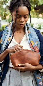 Londo Genuine Leather Versatile Gondola Style Handbag - Cosmetic, Organizer Bag