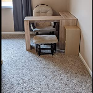 Wood Computer Table With L shape Storage