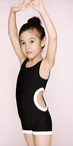Toddler Girls One Piece Bathing Suit Black Retro Swimsuit Sleeveless Swimwear Sun Protection Suit