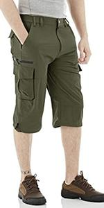 EKLENTSON Mens Casual Twill Elastic Cargo Shorts Below Knee Loose Fit Capri Long Shorts