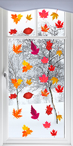 200Pcs Fall Leaves Window Clings Thanksgiving Windows Clings Decals