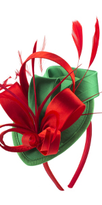 Fascinator Hats for Women Girls Pets Hair Clip Feather Cocktail Party Headband (Red and Green)