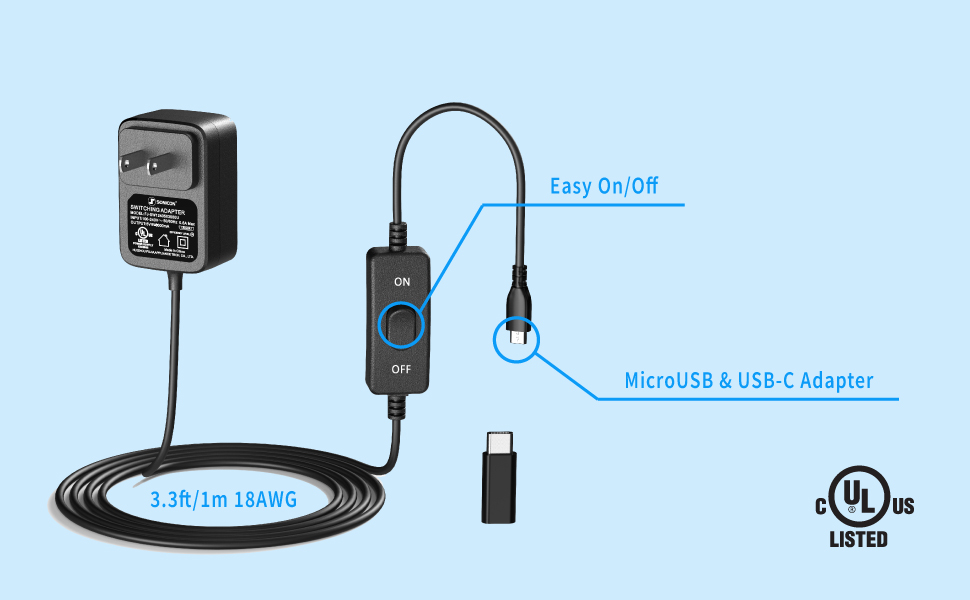MicroUSB and USB-C Raspberry Pi Charger Power Supply with easy ON/OFF switch