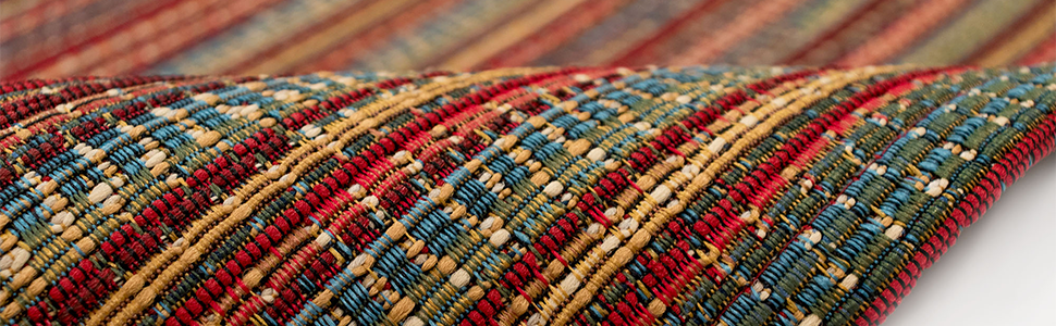 Wilton-woven in Egypt, this collection is 100% polypropylene
