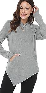 AYIFU Womens Pullover Hoodies Irregular Hem Tunic Long Sleeve Tops with Pocket