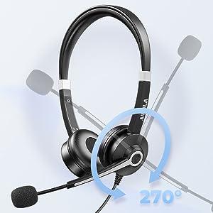 Adjustable boom microphone headset