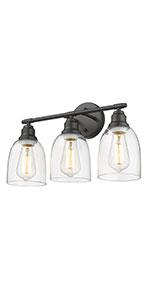 3-Light Black Bathroom Vanity Light Fixtures