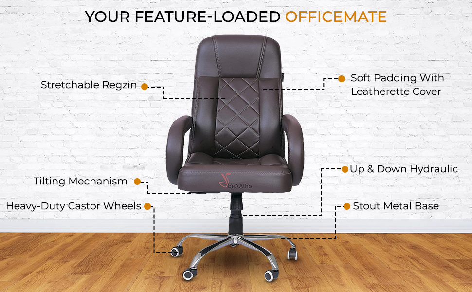 beAAtho JS-2 Executive High Back Office Revolving Chair (Brown) SPN-FOR1