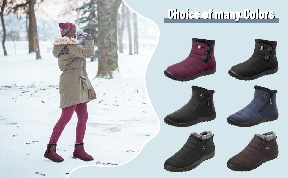JIASUQI Womens Winter Snow Boots Waterproof Anti-Slip Ankle Booties