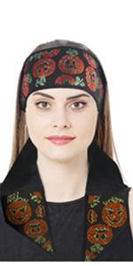 Women's Halloween  Headband for Yoga Sport Makeup Handbags Headwrap Scarf Tie(Pumpkin Sacrf )