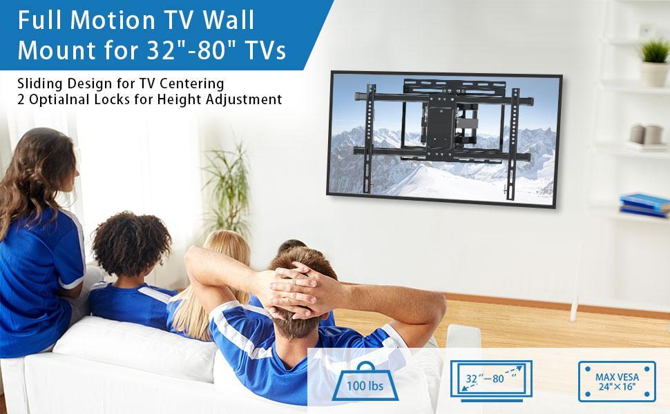 full motion tv wall mount for 32-80 in TVs