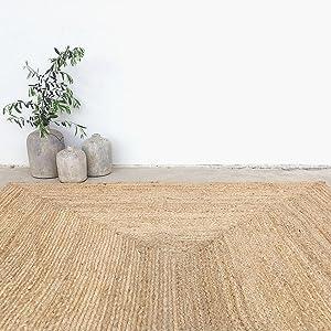 fernish decor jute area rug natural fiber rustic boho farmhouse living room