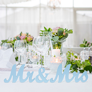 Light Blue Wood Sign for Wedding Table