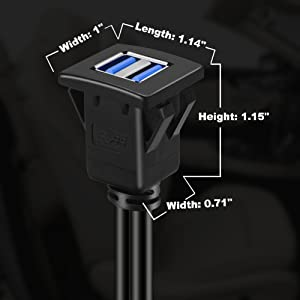 BATIGE - 2 PORTS DUAL SQUARE USB 3.0 CAR MOUNT FLUSH CABLE size