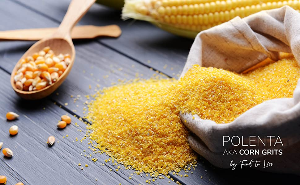 polenta and corn kernels on a table by food to live