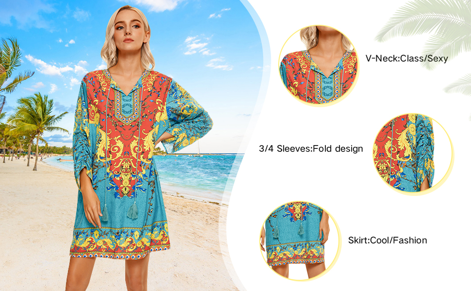 Women Bohemian Dresses Casual Vintage V-neck Shirt Dress with Middle Sleeves Plus Size Beach Dress